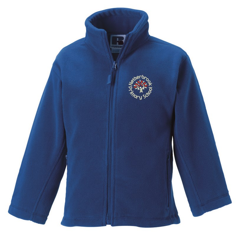 Childs Blue Full Zip Fleece embroidered with School logo