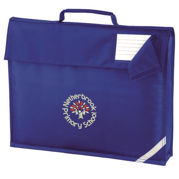 Blue book bag with logo embroidered to one side