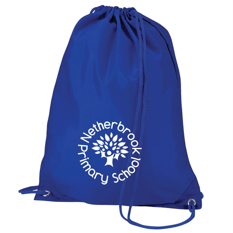 Drawstring bag in blue with School logo printed to one side in White