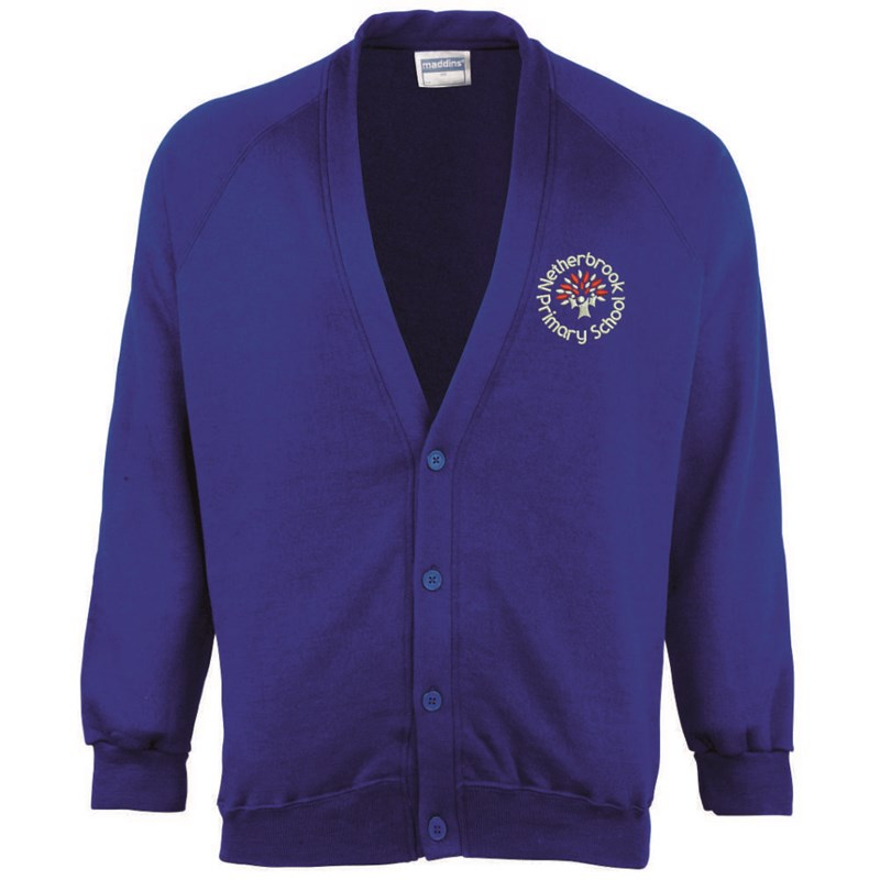 Childs Blue Cardigan embroidered with School logo