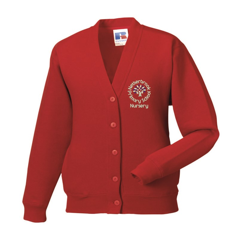 Childs Red Cardigan embroidered with Nursery logo