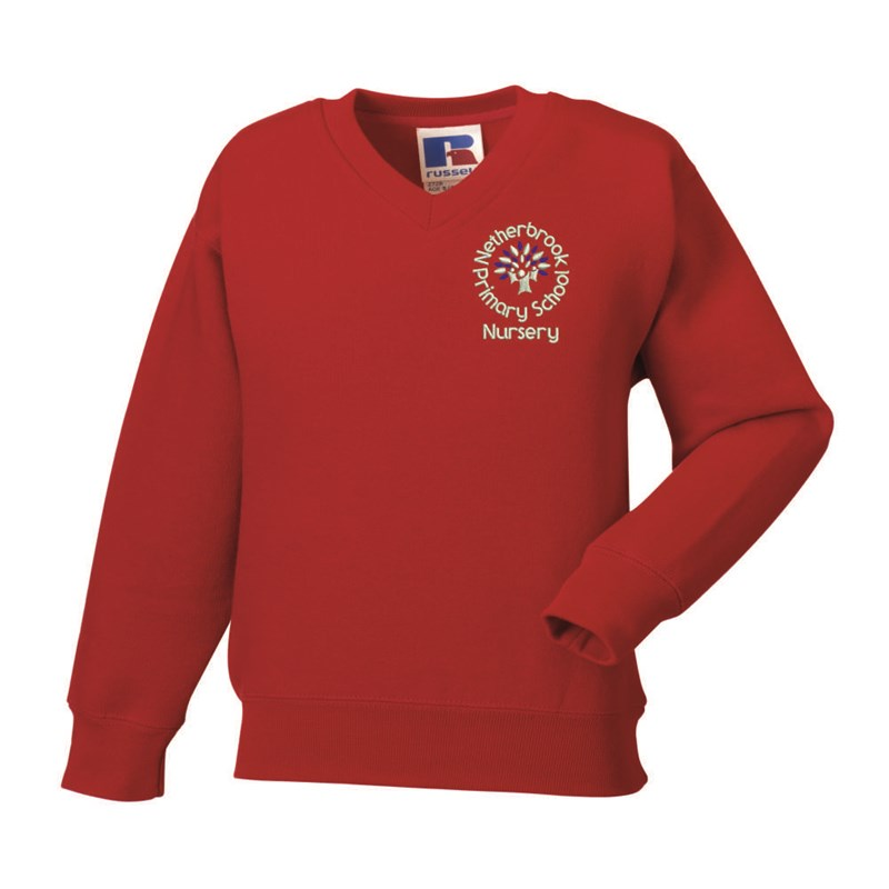 Childs Red V Neck Sweatshirt embroidered with Nursery logo