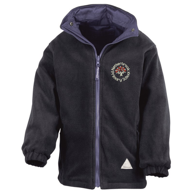 Childs Blue Fleece/Waterproof reversible jacket embroidered with School logo