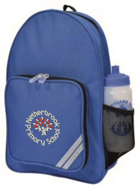 Blue ruck sack with logo embroidered to front