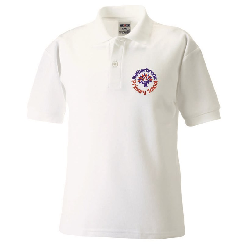 White polycotton Childs Poloshirt embroidered with School logo